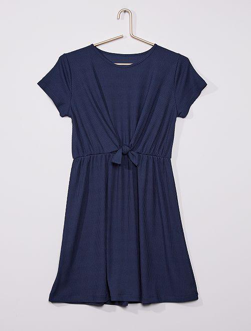 Vestido corto con lazo en la parte delantera                                         azul marino