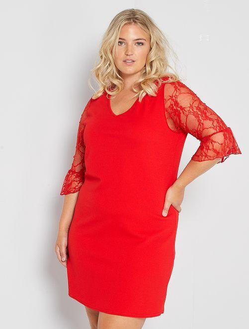 Vestido corto con mangas de encaje                                         rojo