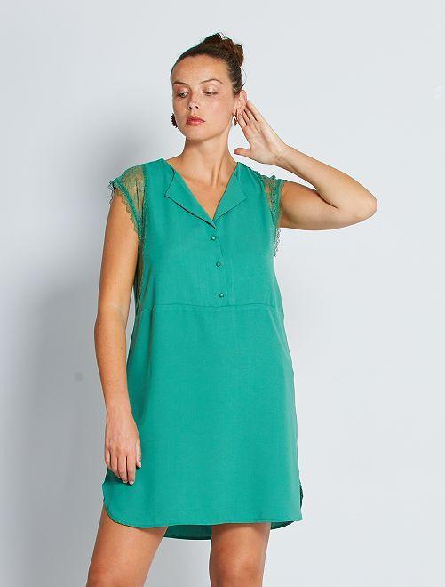 Vestido corto con mangas de encaje                                                                 verde pino
