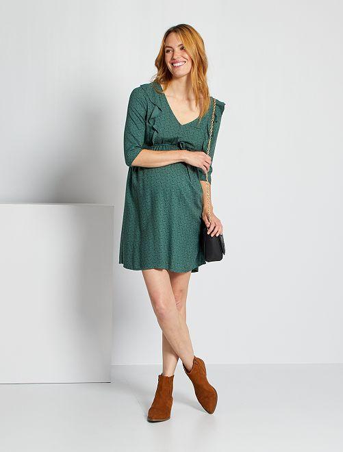 Vestido corto con motivos                                         VERDE