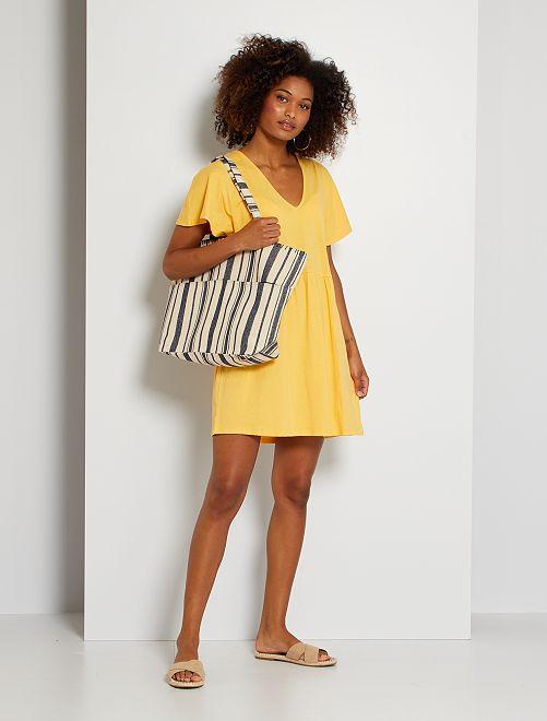 Vestido corto de algodón                                                                 amarillo crema