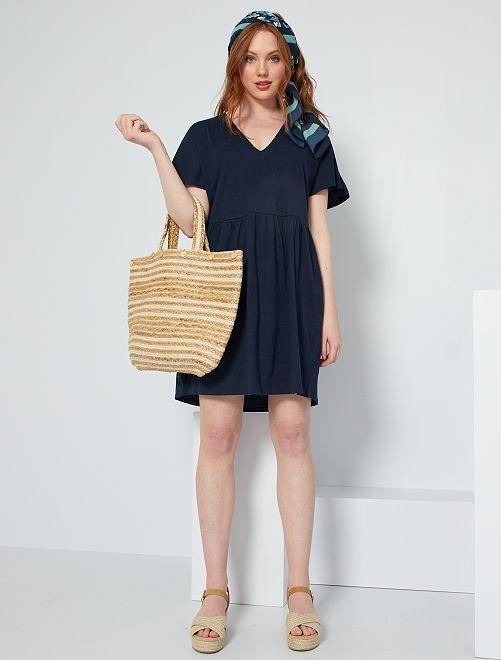 Vestido corto de algodón                                                                 azul
