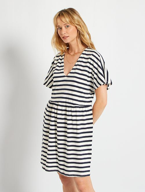 Vestido corto de algodón                                                                 BLANCO