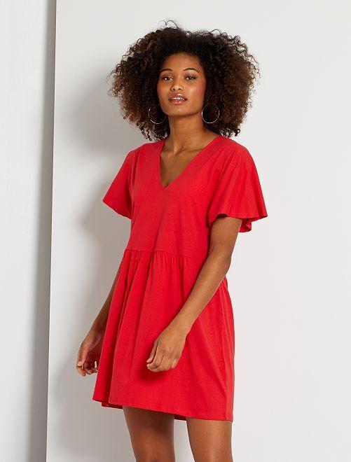 Vestido corto de algodón                                                                             rojo