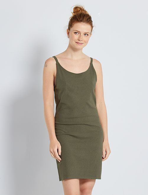 Vestido corto de canalé                             KAKI