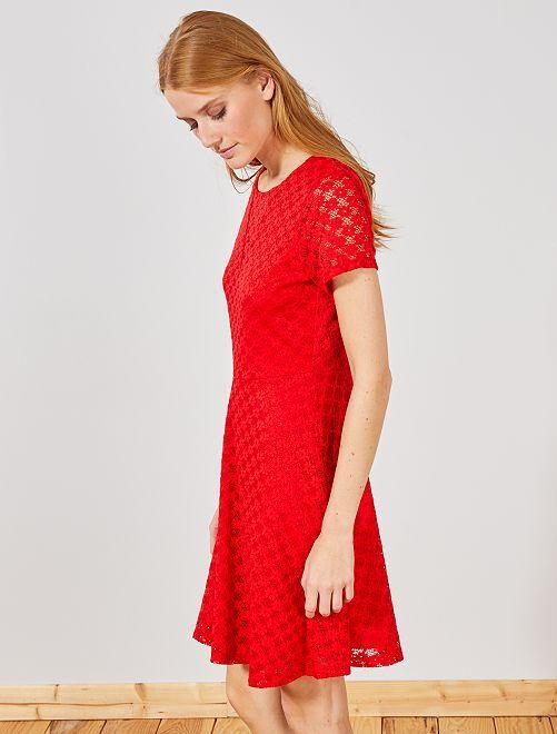 Vestido corto de encaje                                         ROJO Mujer talla 34 a 48