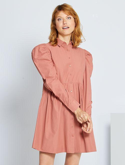 Vestido corto de popelina                             ROSA