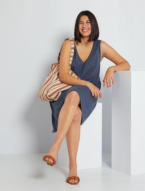 Vestido corto de punto                                         azul