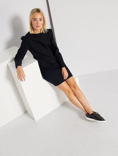 Vestido corto de sarga                                                                 negro