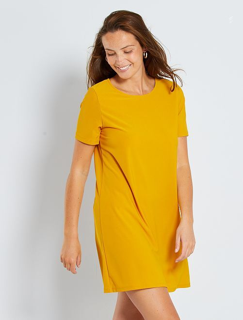 Vestido corto eco-concepción                     amarillo bronce