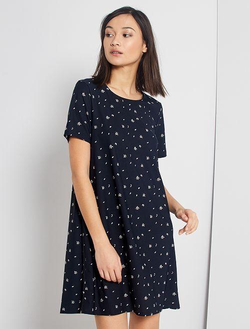 Vestido corto eco-concepción                                                     AZUL