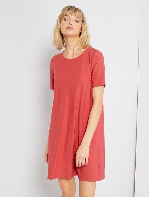 Vestido corto eco-concepción                                                                             rojo granate