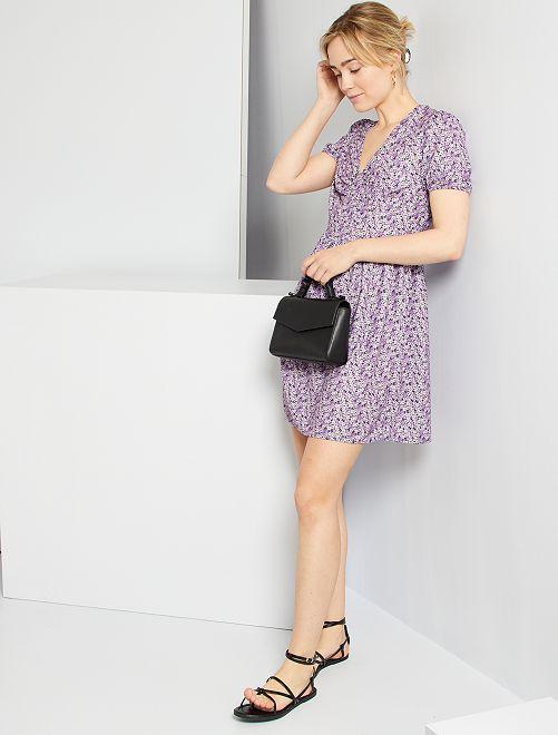 Vestido corto estampado                                                                 NEGRO