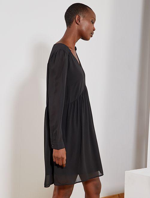 Vestido corto estilo babydoll                                                     negro