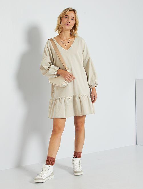 Vestido corto tipo sudadera                                         beige