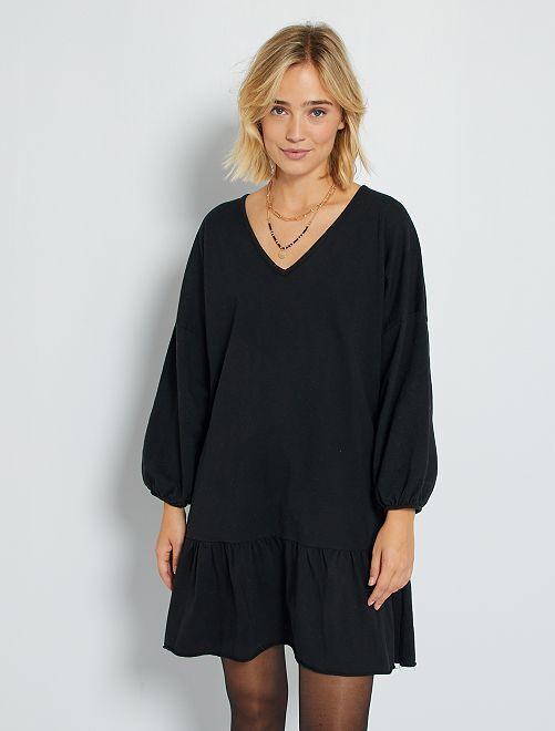 Vestido corto tipo sudadera                                         negro