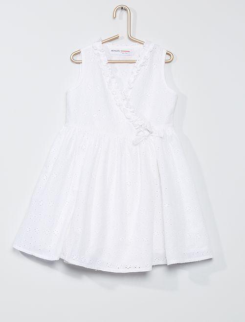 Vestido cruzado con bordado inglés                             blanco