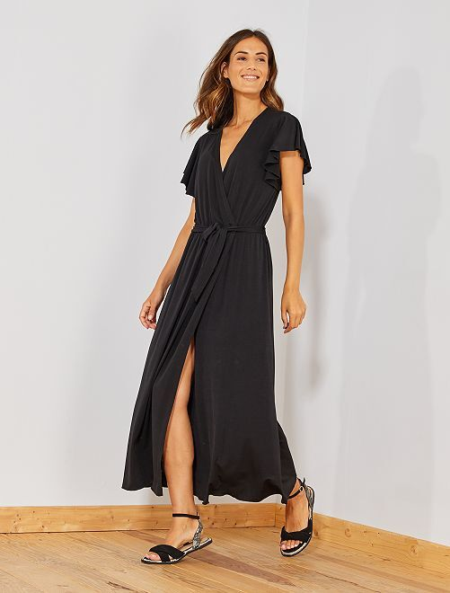 Vestido cruzado con volantes                             negro Mujer talla 34 a 48