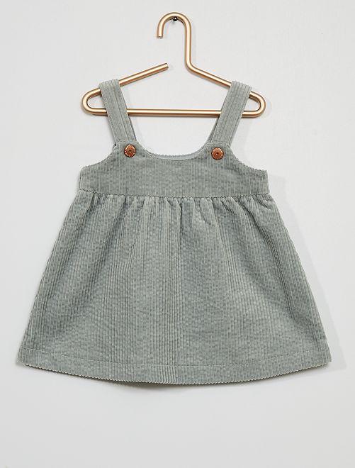 Vestido de algodón tipo terciopelo                                                                                         azul gris