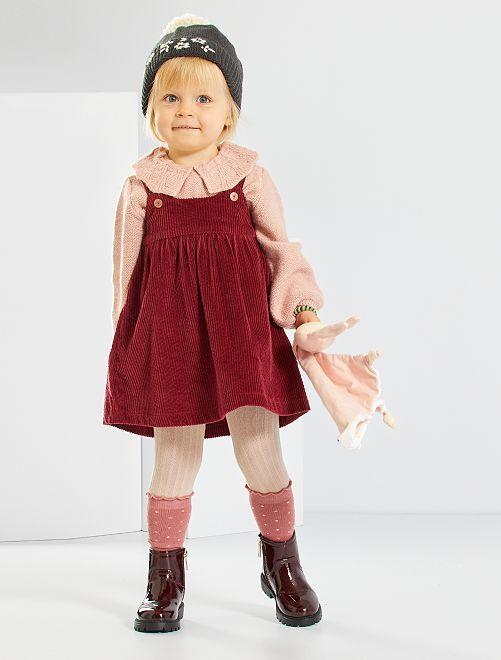 Vestido de algodón tipo terciopelo                                                                                         rojo burdeos