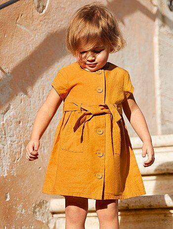 57d197ac7 Niña 0-36 meses - Vestido de algodón y lino - Kiabi