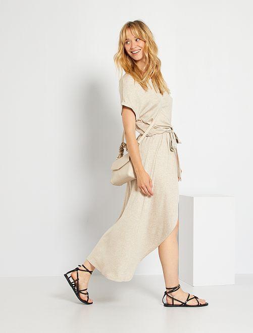 Vestido de canalé                                         BEIGE