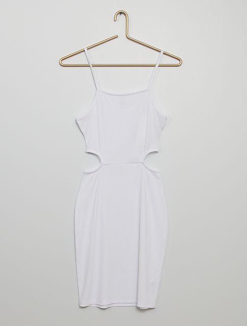 Vestido de canalé                                                                                         blanco
