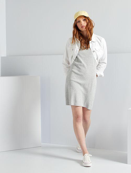 Vestido de canalé eco-concepción                                                     GRIS