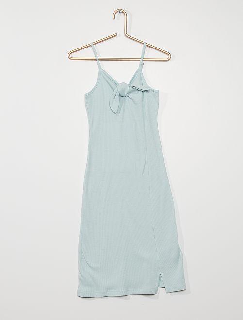 Vestido de canalé                             gris azul