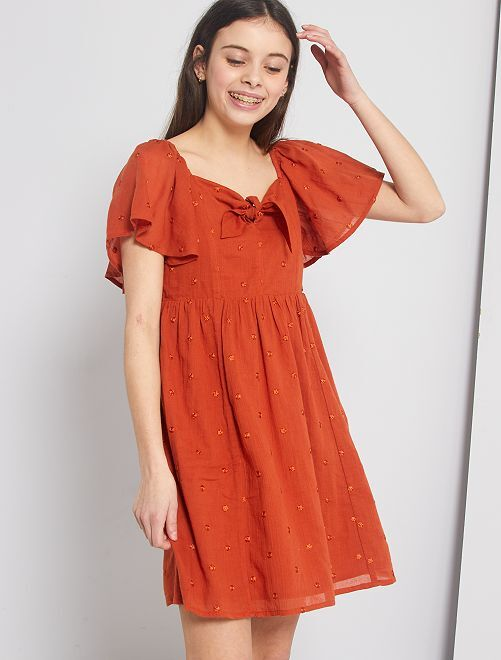 Vestido de crepé con plumeti                             NARANJA