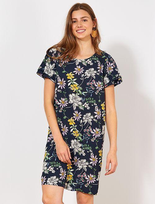 Vestido de crepé de flores 'JDY'                             AZUL Mujer talla 34 a 48