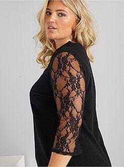 Vestidos negros - Vestido de crepé y encaje