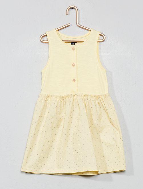 Vestido de dos tejidos                                         AMARILLO Bebé niña