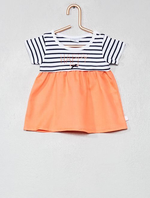 Vestido de dos tejidos efecto 2 en 1 'Absorba'                             blanco/naranja