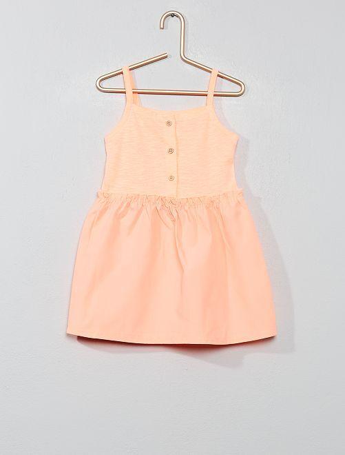 Vestido de dos tejidos                                         flúor naranja Bebé niña