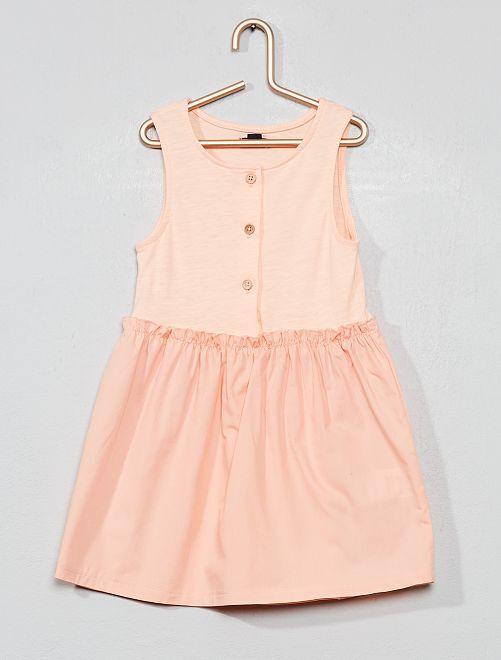 Vestido de dos tejidos                                         ROSA Bebé niña