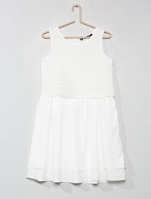 Vestido de encaje bordado                             blanco Joven niña