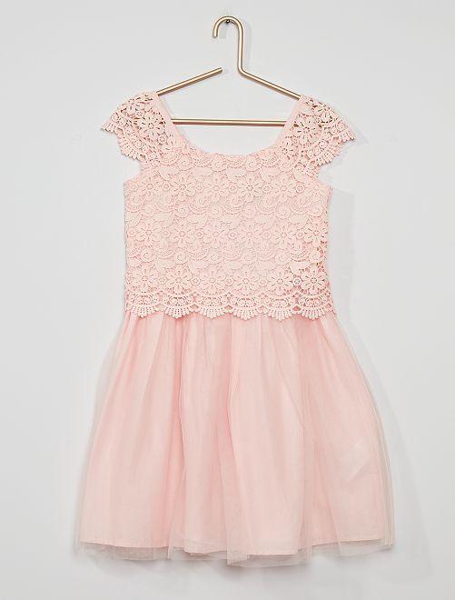 Vestido de encaje y tul                                                                             rosa claro