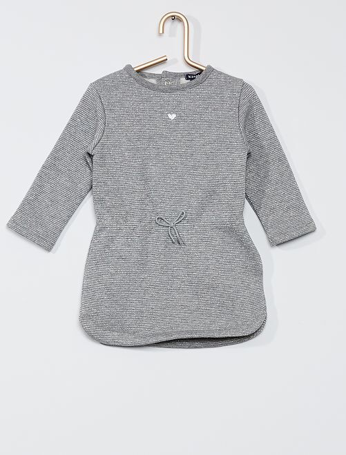 Vestido de felpa                                                                 a rayas gris