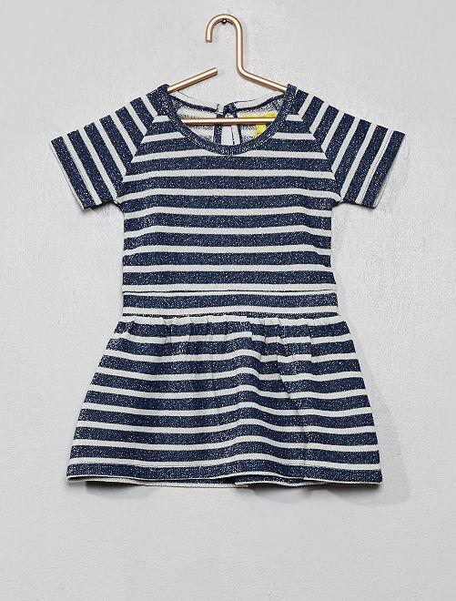 Vestido de felpa con brillos                                         azul marino