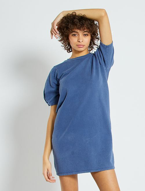 Vestido de felpa con manga tipo globo                             azul