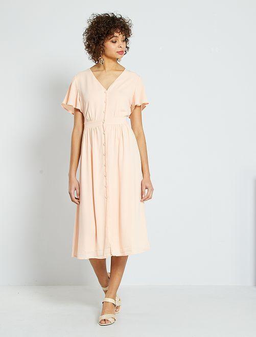 Vestido de fiesta abotonado                                         rosa melocotón