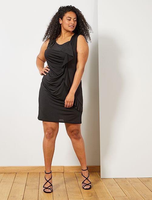 Vestido de fiesta con frunces                             negro Tallas grandes mujer