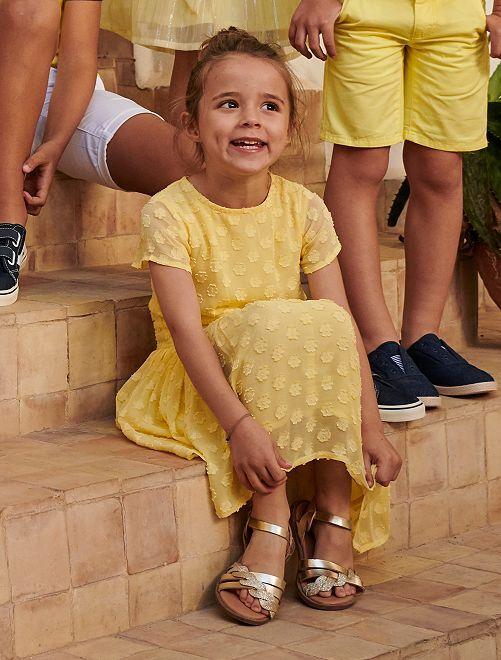 Vestido de fiesta de flores                                         amarillo limón