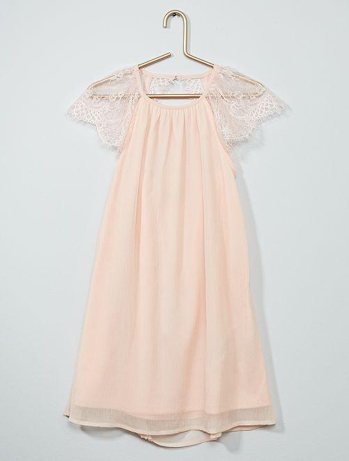 Vestido de fiesta de gasa                                         rosa