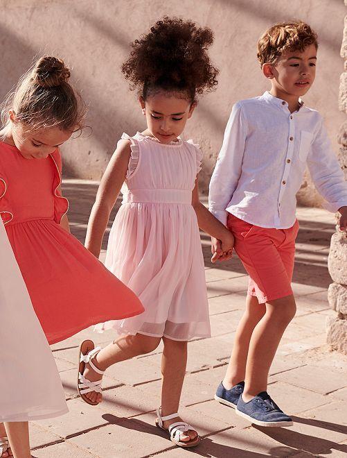 Vestido de fiesta de muselina                                         rosa
