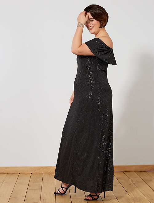Vestido de fiesta largo con brillos                             negro