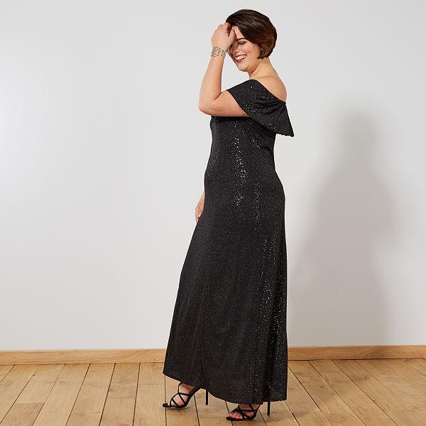 Vestido De Fiesta Largo Con Brillos Tallas Grandes Mujer Negro Kiabi 28 00