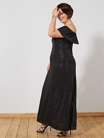 e9d305a607f Tallas grandes mujer - Vestido de fiesta largo con brillos - Kiabi