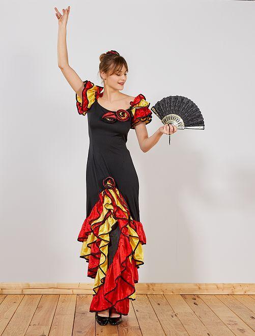 Vestido de flamenca                             negro/rojo/amarillo